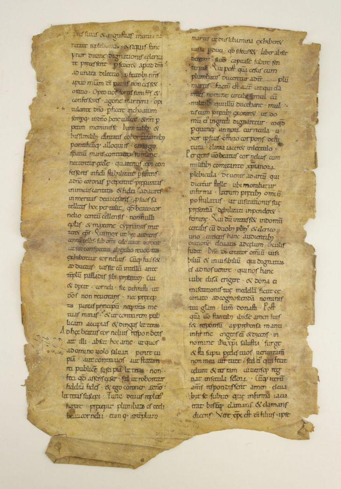 TEXT FROM THE LIFE OF SAINT CYPRIAN THE MARTYR. AN EARLY VELLUM MANUSCRIPT LEAF FROM A. GIGANTIC VOLUME OF SAINTS LIVES IN LATIN.