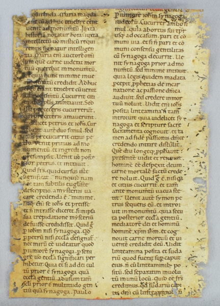 "TEXT FROM HOMILY XXII, FOR EASTER SUNDAY. FROM SAINT GREGORY THE GREAT'S ""XL HOMILARIUM IN EVANGELIA"" IN LATIN A VERY LARGE EARLY VELLUM MANUSCRIPT LEAF WITH AN IMPRESSIVE INITIAL."