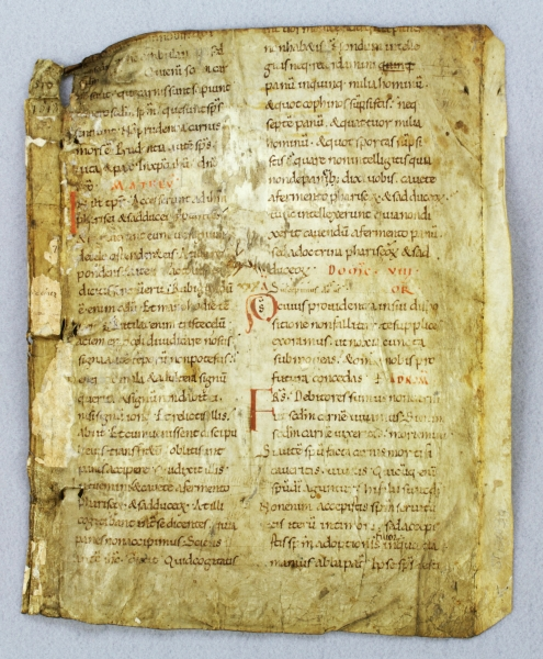 TEXT FROM THE EIGHTH SUNDAY AFTER TRINITY. WITH AN EARLY FORM OF NEUMES A VERY OLD VELLUM MANUSCRIPT LEAF FROM A. LECTIONARY IN LATIN.