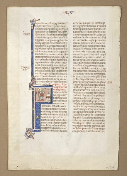 TEXT FROM THE OPENING OF LUKE. TWO OF THEM FINELY HISTORIATED AN ILLUMINATED VELLUM MANUSCRIPT LEAF WITH THREE IMPRESSIVE INITIALS, FROM AN OUTSTANDING MONUMENTAL BIBLE IN LATIN.