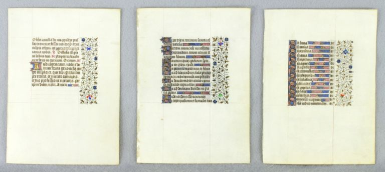 OFFERED INDIVIDUALLY ILLUMINATED VELLUM MANUSCRIPT LEAVES, VERY LARGE BOOK OF HOURS, FROM A. VERY FINE.