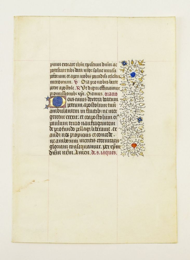 FROM A VERY FINE, VERY LARGE BOOK OF HOURS. OFFERED INDIVIDUALLY ILLUMINATED VELLUM MANUSCRIPT LEAVES.