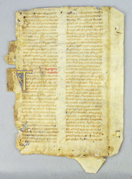 TEXT FROM THE LIFE OF SAINT GREGORY, MARTYR. AN EARLY VELLUM ILLUMINATED MANUSCRIPT LEAF FROM A. LECTIONARY, IN LATIN.