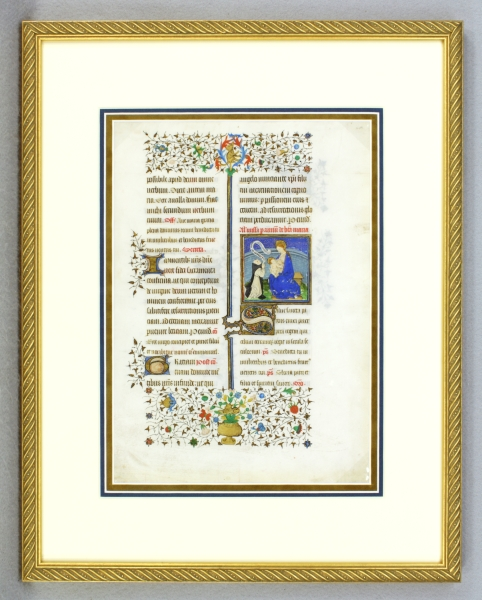 TEXT FROM THE MASSES FOR THE VIRGIN. SMALL MINIATURE OF A. CISTERIAN MONK WITH THE VIRGIN AND CHILD AN ILLUMINATED VELLUM MANUSCRIPT LEAF WITH A. FINE, FROM A. MISSAL IN LATIN.