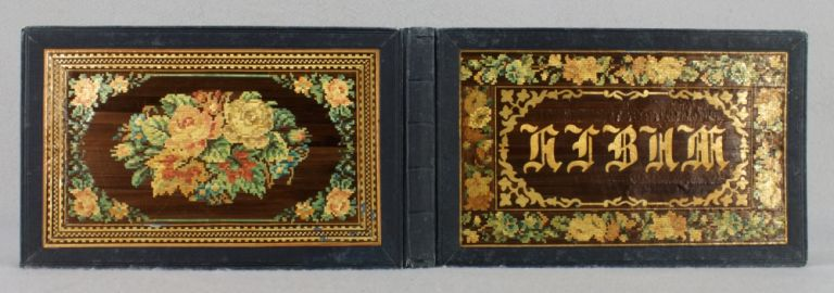 AN ALBUM OF 19TH CENTURY GERMAN SCENERY. BINDINGS - WOVEN STRAW.