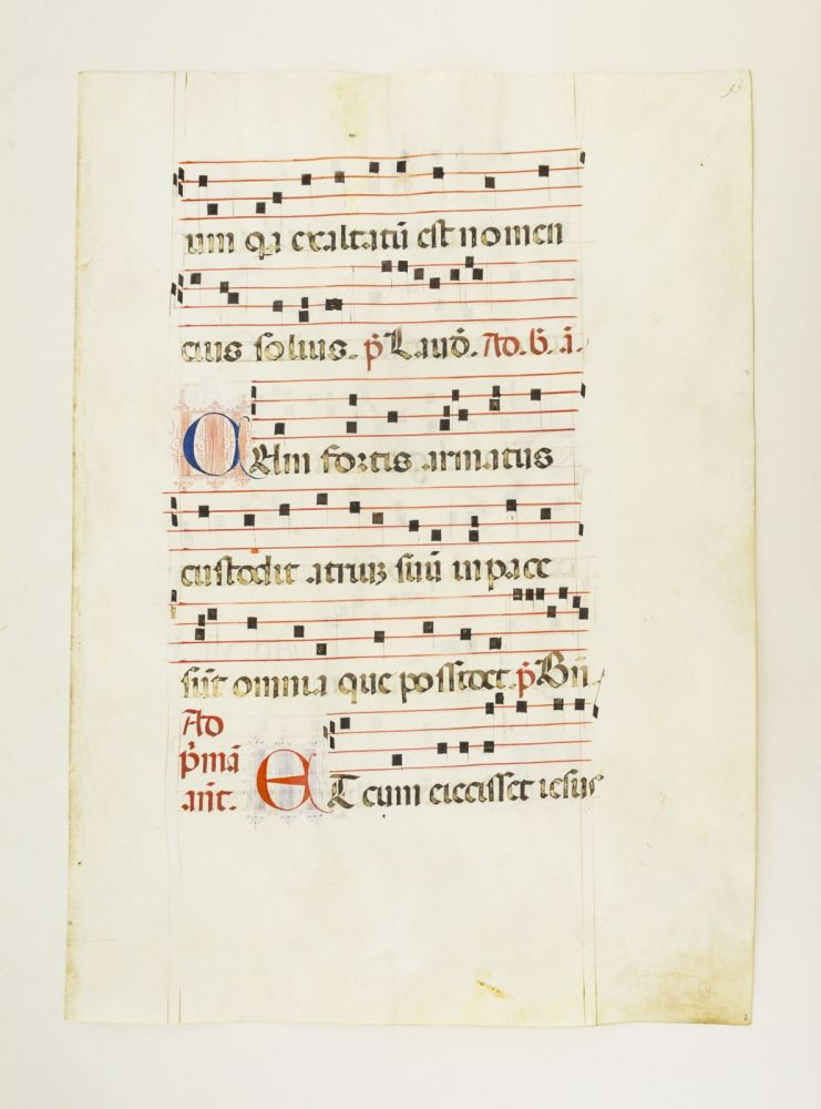 FROM AN EXTREMELY LARGE ANTIPHONER IN LATIN. OFFERED INDIVIDUALLY VELLUM MANUSCRIPT LEAVES, SOME WITH GORGEOUS ILLUMINATION.