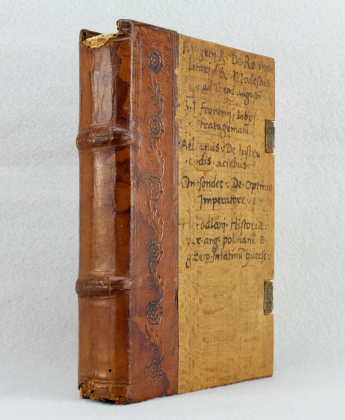 SCRIPTORES REI MILITARIS (works by five Roman and Greek military authors). [bound with] HERODIANUS. HISTORIA DE IMPERIO POST MARCUM. FLAVIUS VEGETIUS RENATUS.