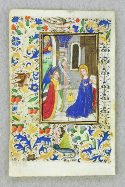 FROM A. BOOK OF HOURS IN LATIN A VERY SMALL ILLUMINATED VELLUM MANUSCRIPT LEAF WITH A. MINIATURE OF THE ANNUNCIATION.