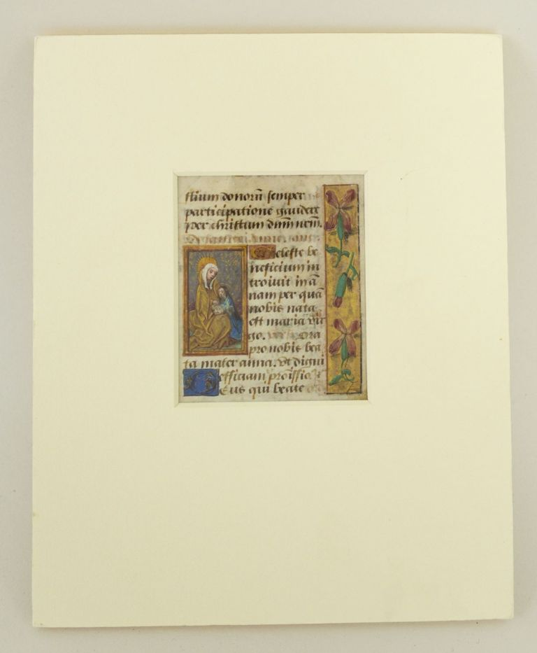 TEXT FROM THE SUFFRAGES. AN ILLUMINATED VELLUM MANUSCRIPT LEAF WITH SMALL MINIATURE OF ST. ANNE FROM A. BOOK OF HOURS IN LATIN.