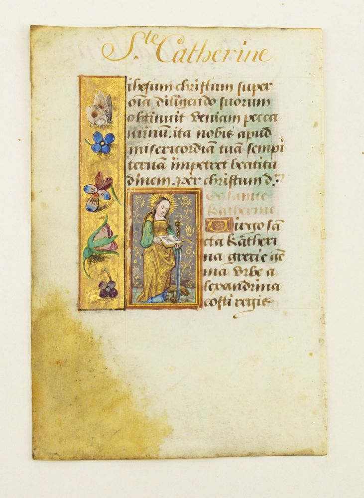 TEXT FROM THE SUFFRAGES. INDIVIDUAL ILLUMINATED VELLUM MANUSCRIPT LEAVES WITH SMALL MINIATURES OF SAINTS FROM A. BOOK OF HOURS IN LATIN.