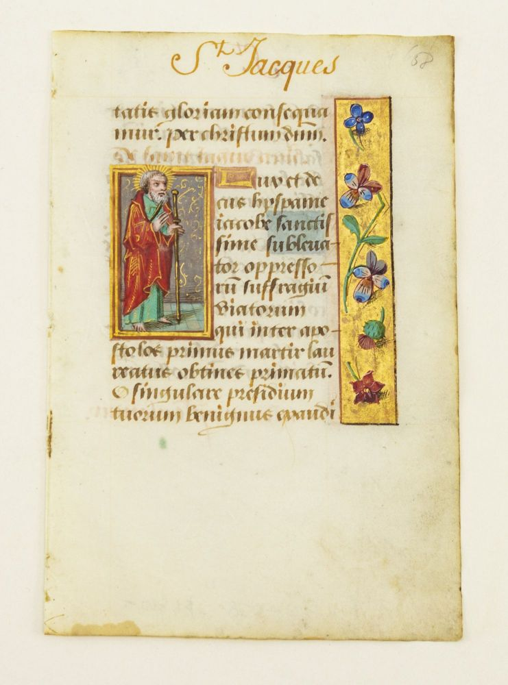 TEXT FROM THE SUFFRAGES. OFFERED INDIVIDUALLY INDIVIDUAL ILLUMINATED VELLUM MANUSCRIPT LEAVES, WITH SMALL MINIATURES FROM A. BOOK OF HOURS IN LATIN.