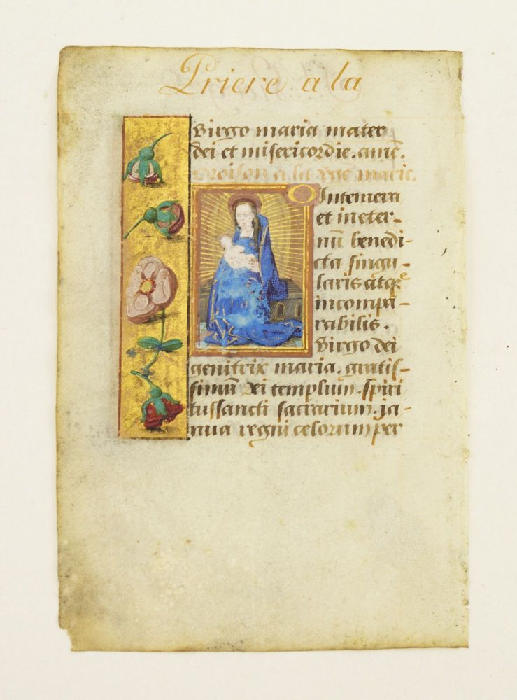 "TEXT FROM ""O INTEMERATA."" AN ILLUMINATED VELLUM MANUSCRIPT LEAF WITH A. SMALL MINIATURE FROM A. BOOK OF HOURS IN LATIN."