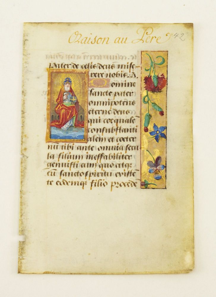 TEXT FROM PRAYERS TO THE HOLY TRINITY. AN ILLUMINATED VELLUM MANUSCRIPT LEAF WITH A. SMALL MINIATURE FROM A. BOOK OF HOURS IN LATIN.