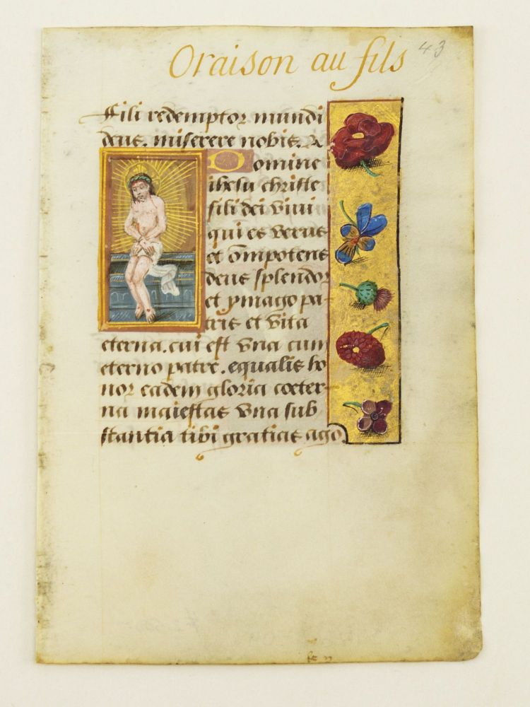 TEXTS FROM PRAYERS TO THE HOLY TRINITY. AN ILLUMINATED VELLUM MANUSCRIPT LEAF WITH SMALL MINIATURES FROM A. BOOK OF HOURS IN LATIN.