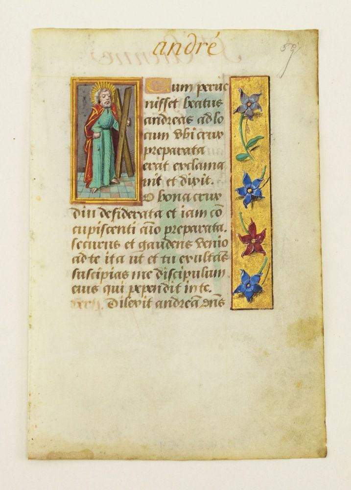 TEXT FROM THE SUFFRAGES. OFFERED INDIVIDUALLY ILLUMINATED VELLUM MANUSCRIPT LEAVES, WITH SMALL MINIATURES OF SAINTS FROM A. BOOK OF HOURS IN LATIN.