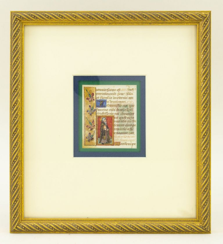 TEXTS FROM LAUDES, VESPERS, AND THE SUFFRAGES. OFFERED INDIVIDUALLY FRAMED ILLUMINATED VELLUM MANUSCRIPT LEAVES, WITH SMALL MINIATURES OF SAINTS FROM A. BOOK OF HOURS IN LATIN.