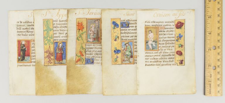 TEXTS INCLDUING O INTEMERATA, OBSECRO TE, AND THE SUFFRAGES. INDIVIDUAL ILLUMINATED VELLUM MANUSCRIPT LEAVES WITH SMALL MINIATURES OF SAINTS FROM A. BOOK OF HOURS IN LATIN.