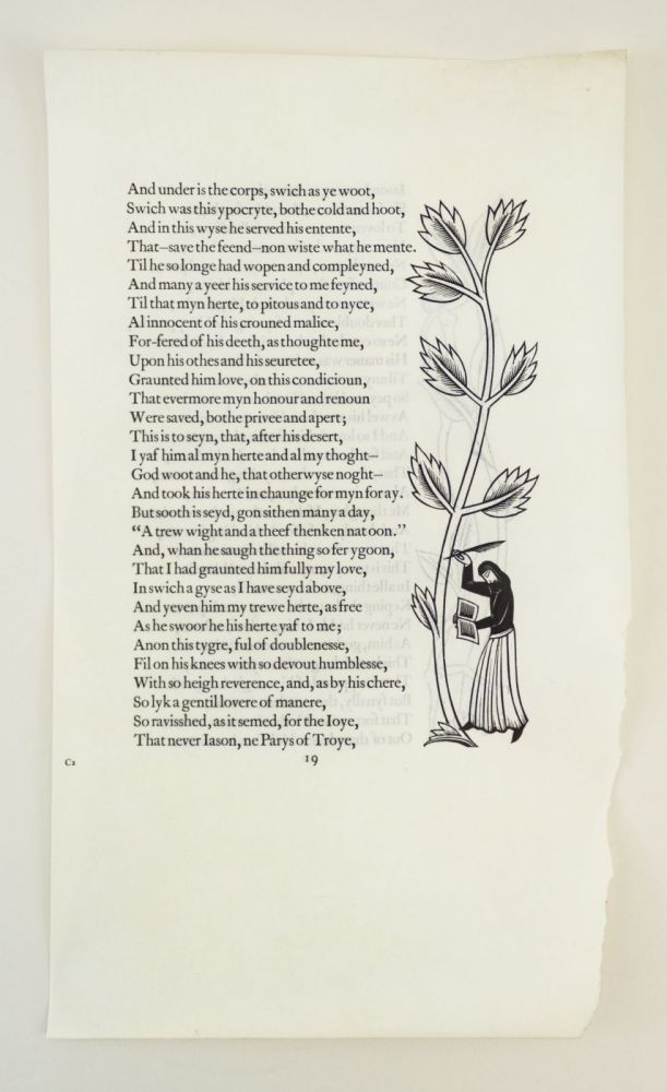 A VELLUM PROOF LEAF FROM THE GOLDEN COCKEREL PRESS CANTERBURY TALES. PRINTED LEAVES - VELLUM, ERIC GILL, GOLDEN COCKEREL PRESS.