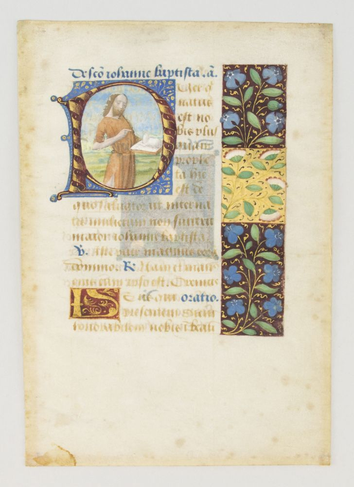 TEXT FROM THE SUFFRAGES. FROM A. BOOK OF HOURS IN LATIN AN ILLUMINATED VELLUM MANUSCRIPT LEAF WITH AN HISTORIATED INITIAL DEPICTING SAINT JOHN THE BAPTIST AND A. SMALL MINIATURE OF SAINT ANTHONY.