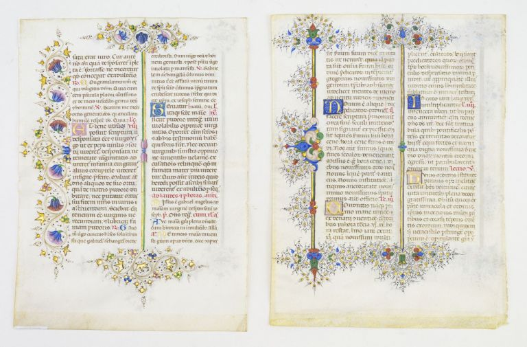 OFFERED INDIVIDUALLY THREE VERY FINE ILLUMINATED VELLUM MANUSCRIPT LEAVES IN LATIN, FROM THE LLANGATTOCK BREVIARY.