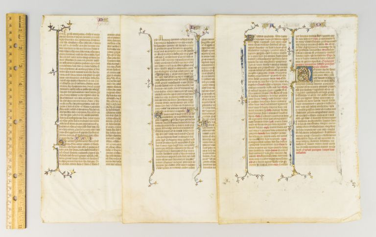 TEXTS FROM GENESIS, PROVERBS/ECCLESIASTES, AND ESTHER. OFFERED INDIVIDUALLY THREE ILLUMINATED VELLUM MANUSCRIPT LEAVES FROM THE SAINT ALBANS BIBLE.