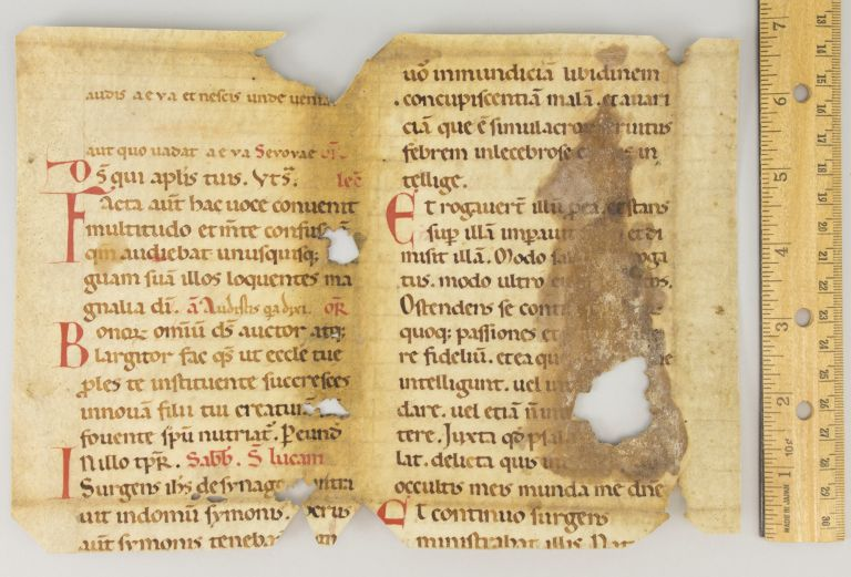 FRAGMENT OF A. LEAF FROM A. NOTED BREVIARY IN LATIN.