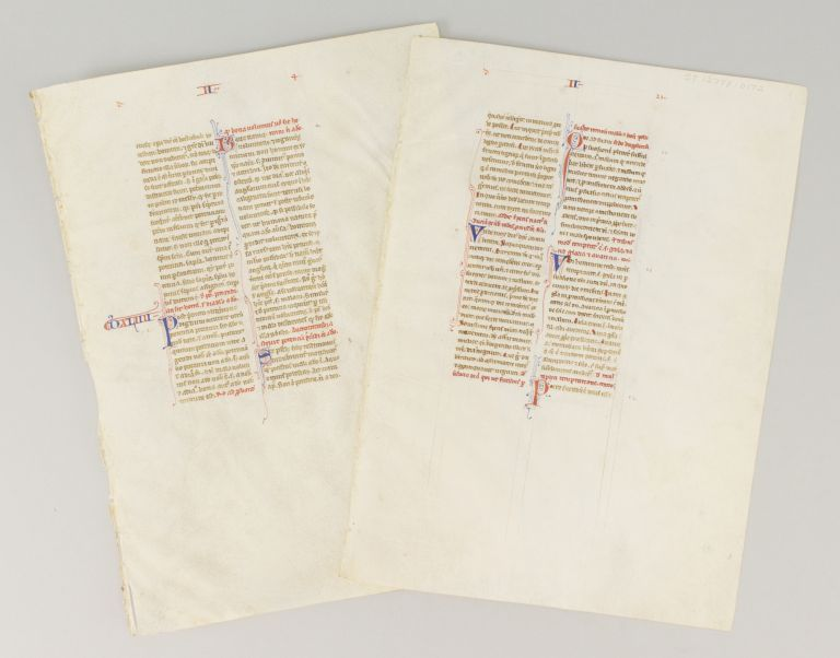 SENTENTIAE. OFFERED INDIVIDUALLY TWO FINE VELLUM MANUSCRIPT LEAVES, FROM PETER LOMBARD'S.
