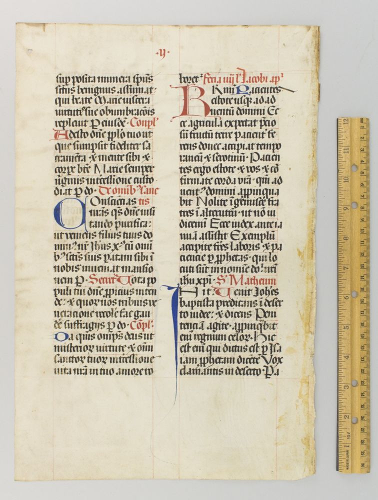 TEXT FROM THE TEMPORALE. A. VELLUM MANUSCRIPT LEAF FROM A. MISSAL IN LATIN.