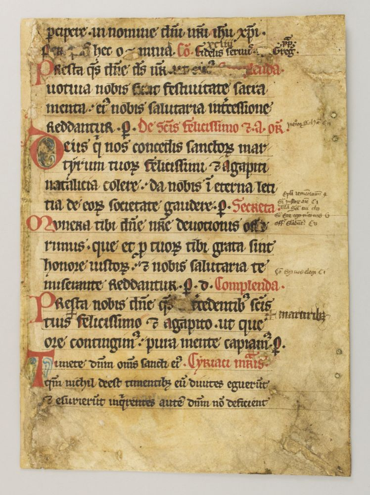 AN EARLY VELLUM MANUSCRIPT LEAF FROM A. MISSAL IN LATIN.