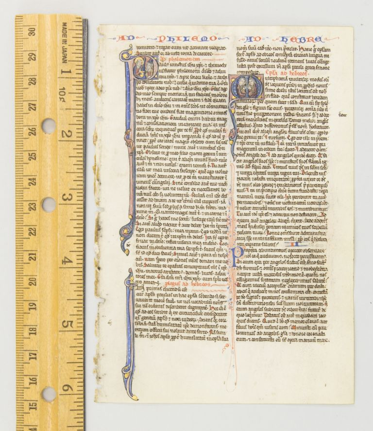 TEXT FROM THE OPENINGS OF PHILEMON AND HEBREWS. FROM A. PORTABLE BIBLE IN LATIN AN ILLUMINATED VELLUM MANUSCRIPT LEAF WITH TWO HISTORIATED INITIALS.