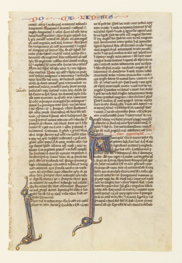 TEXT FROM THE OPENING OF THE APOCALYPSE. FROM A. PORTABLE BIBLE IN LATIN AN ILLUMINATED VELLUM MANUSCRIPT LEAF WITH AN HISTORIATED INITIAL.