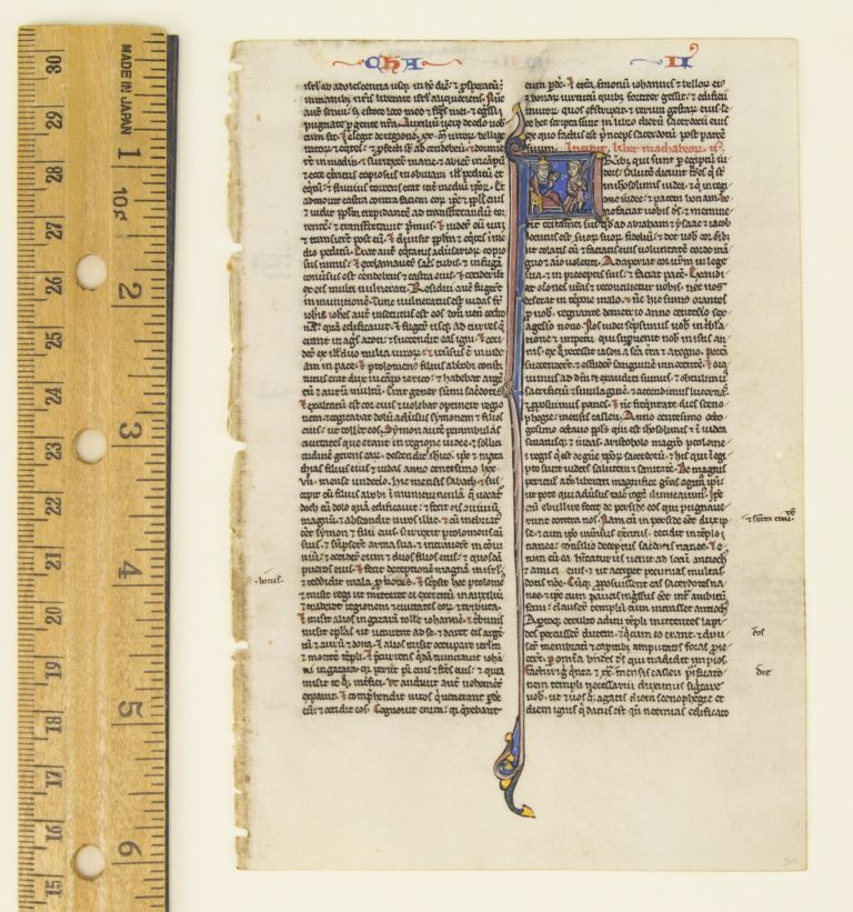 TEXT FROM THE OPENING OF II MACCABEES. FROM A. PORTABLE BIBLE IN LATIN AN ILLUMINATED VELLUM MANUSCRIPT LEAF WITH AN HISTORIATED INITIAL.