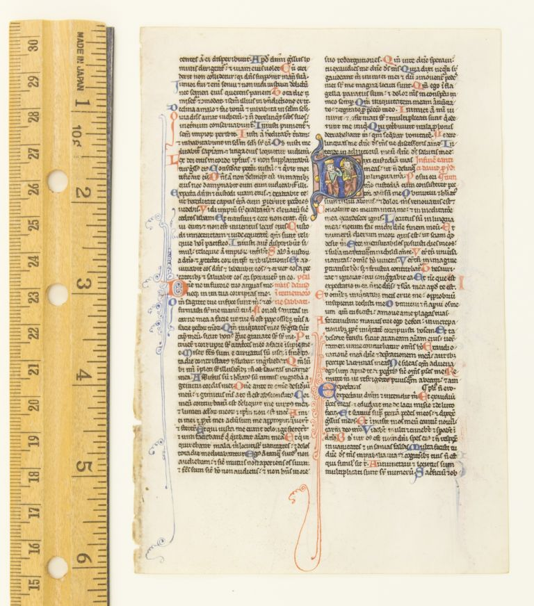 TEXT FROM THE OPENING OF PSALM 38. FROM A. PORTABLE BIBLE IN LATIN AN ILLUMINATED VELLUM MANUSCRIPT LEAF WITH AN HISTORIATED INITIAL.