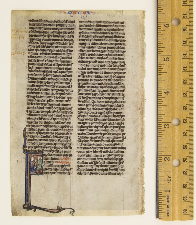 OPENING OF II MACCABEES. FROM A. BIBLE IN LATIN AN ILLUMINATED VELLUM MANUSCRIPT LEAF WITH AN HISTORIATED INITIAL.