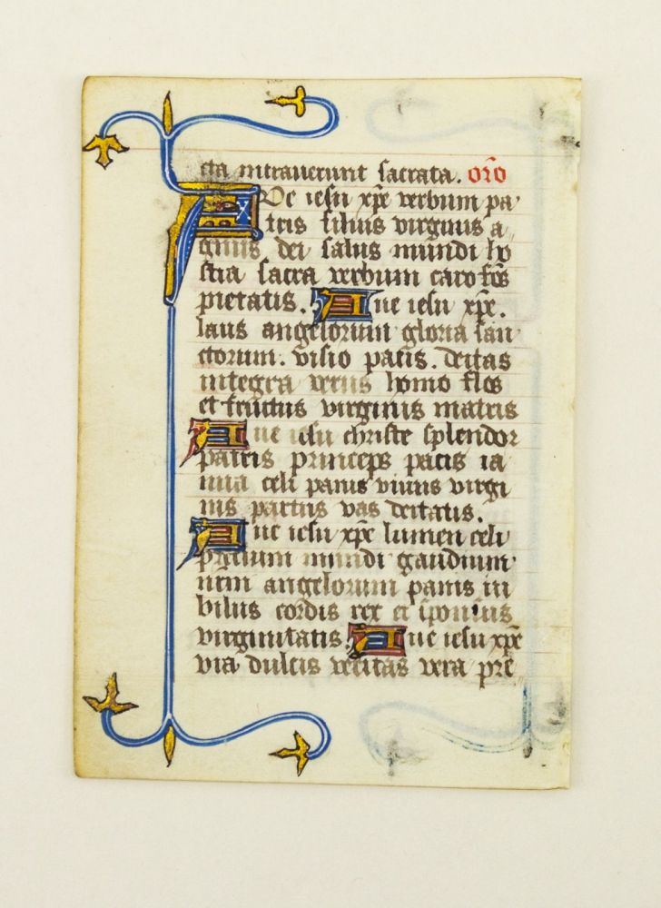 FROM A COLLECTARIUM IN LATIN MADE FOR A FEMALE RELIGIOUS. OFFERED INDIVIDUALLY CHARMING ILLUMINATED VELLUM MANUSCRIPT LEAVES.