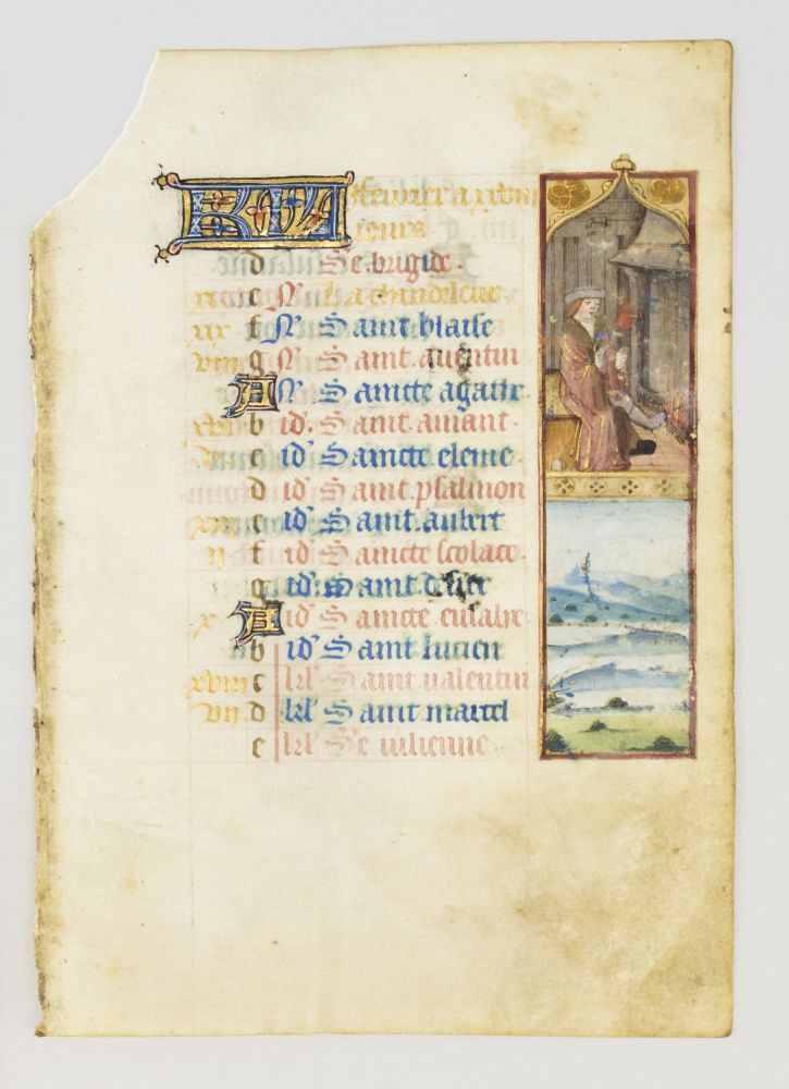 THE MONTH OF FEBRUARY. FROM A. BOOK OF HOURS IN FRENCH AND LATIN AN ILLUMINATED VELLUM MANUSCRIPT CALENDAR LEAF.