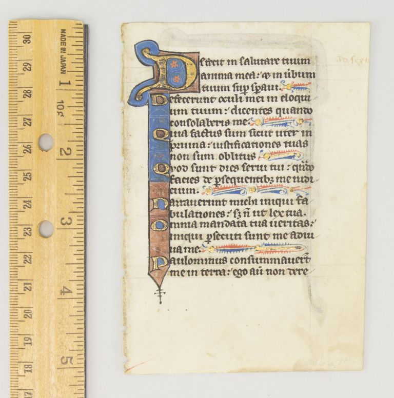 TEXT FROM PSALM 118. A. DECORATIVE VELLUM MANUSCRIPT LEAF FROM A. PSALTER IN LATIN.