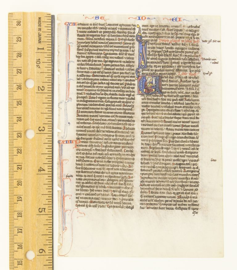 TEXT FROM THE END OF HOSEA AND THE BEGINNING OF JOEL. FROM A. PORTABLE BIBLE IN LATIN AN ILLUMINATED VELLUM MANUSCRIPT LEAF WITH AN HISTORIATED INITIAL.