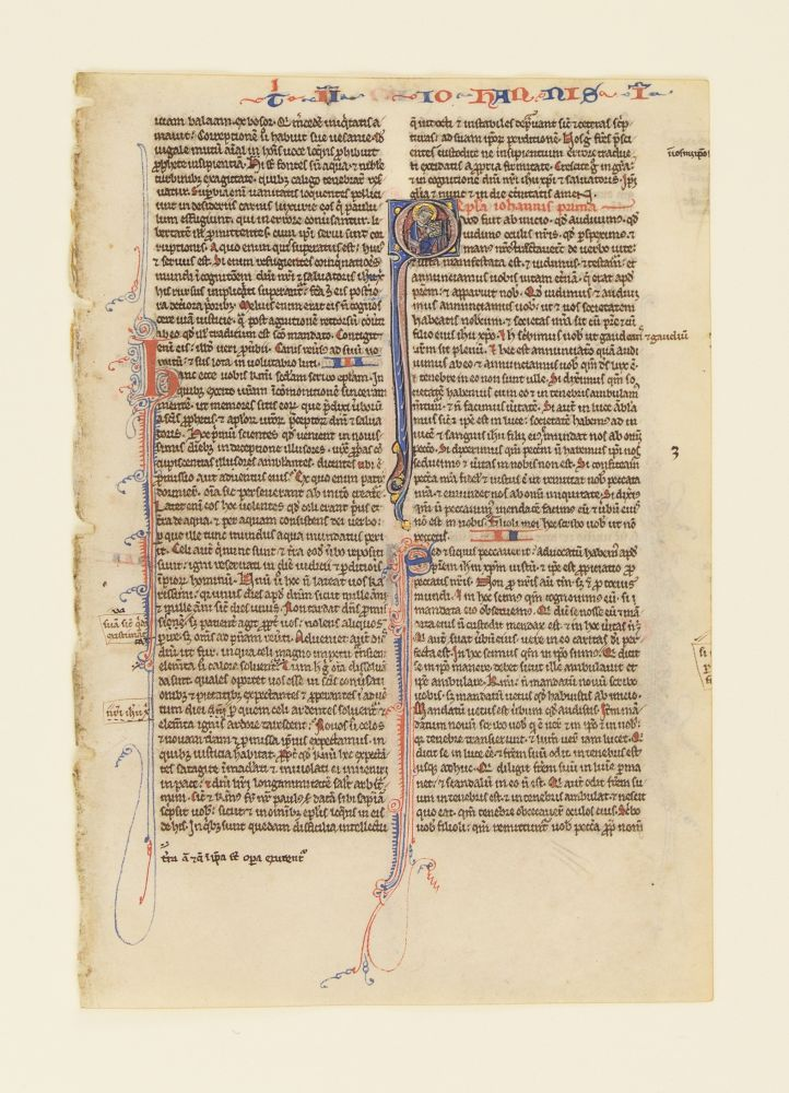 TEXT FROM THE FIRST EPISTLE OF JOHN. FROM A. PORTABLE BIBLE IN LATIN AN ILLUMINATED VELLUM MANUSCRIPT LEAF WITH AN HISTORIATED INITIAL.