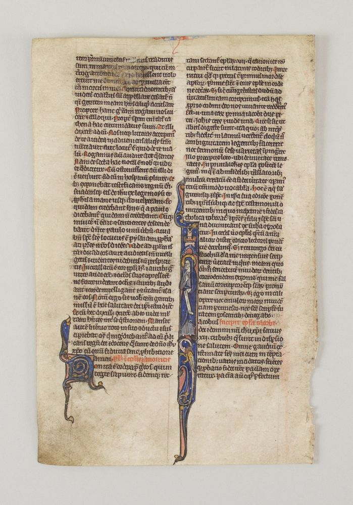 TEXT FROM THE FIRST EPISTLE OF JAMES. FROM A. PORTABLE BIBLE IN LATIN AN ILLUMINATED VELLUM MANUSCRIPT LEAF WITH AN HISTORIATED INITIAL.