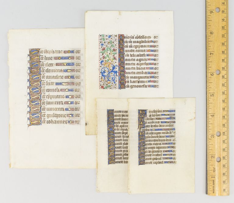 TEXT FROM THE LITANY. FOUR ILLUMINATED VELLUM MANUSCRIPT LEAVES FROM, OFFERED INDIVIDUALLY BOOKS OF HOURS IN LATIN.