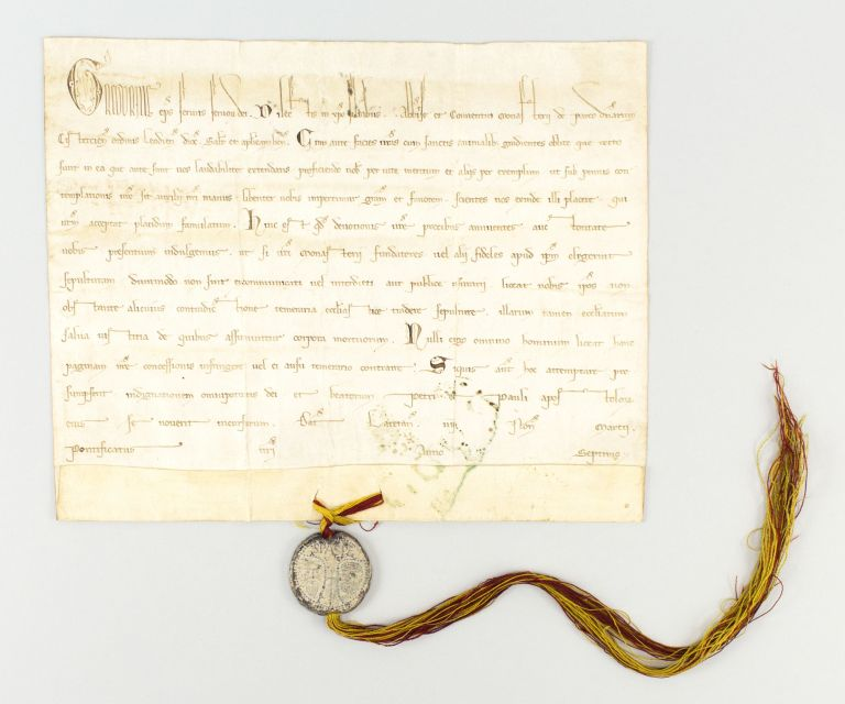 ADDRESSING THE ABBESS AND SISTERS OF THE CISTERCIAN ORDER IN THE DIOCESE OF LIÈGE. AN EARLY VELLUM MANUSCRIPT PAPAL BULL WITH SEAL ATTACHED, GREGORY IX.