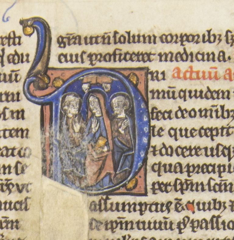 TEXT FROM ACTS OF THE APOSTLES. AN ILLUMINATED VELLUM MANUSCRIPT LEAF WITH AN HISTORIATED INITIAL FROM A. BIBLE IN LATIN.