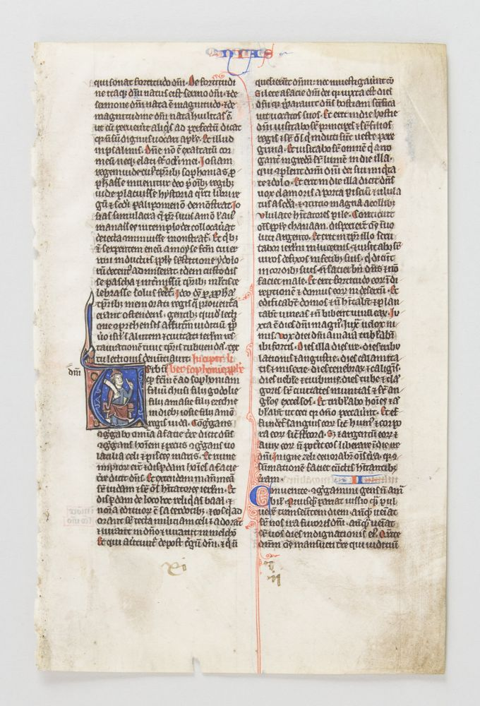 TEXT FROM ZEPHANIAH. FROM A. BIBLE IN LATIN AN ILLUMINATED VELLUM MANUSCRIPT LEAF WITH AN HISTORIATED INITIAL.