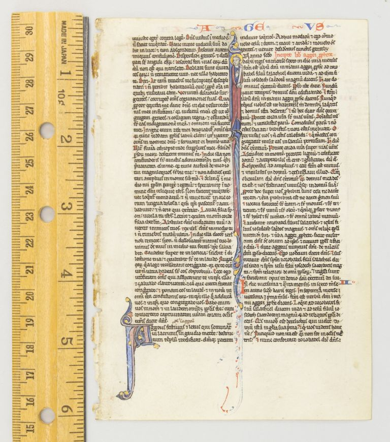 TEXT FROM OPENINGS OF HAGGAI AND OF ZECHARIAH. FROM A. PORTABLE BIBLE IN LATIN AN ILLUMINATED VELLUM MANUSCRIPT LEAF WITH TWO HISTORIATED INITIALS.