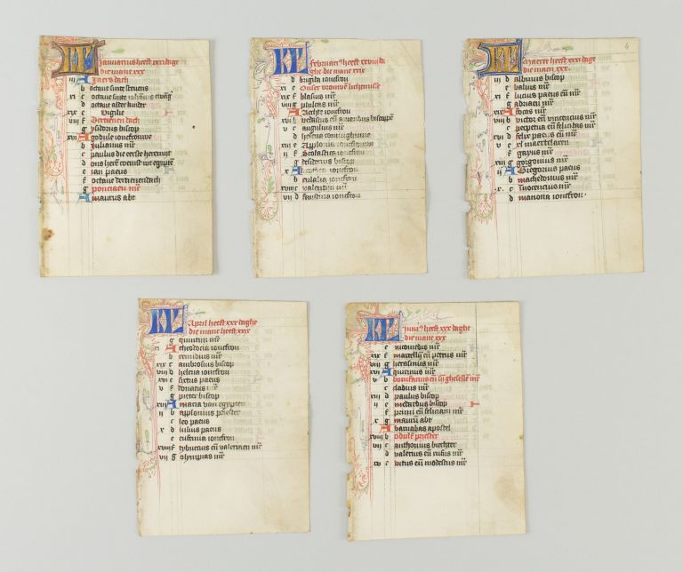 TEXT FROM THE MONTHS OF JANUARY, FEBRUARY, APRIL, MAY, AND JUNE. OFFERED TOGETHER FIVE ILLUMINATED VELLUM MANUSCRIPT CALENDAR LEAVES, FROM A. BOOK OF HOURS IN DUTCH.