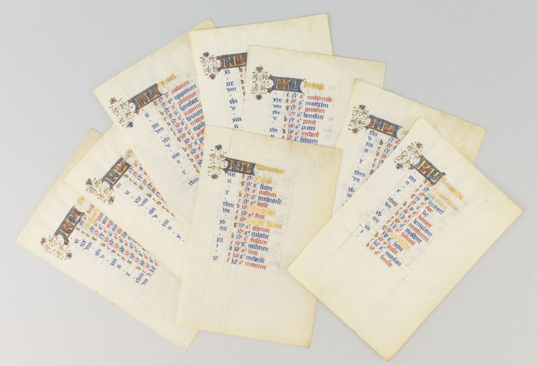 THE MONTHS OF FEBRUARY THROUGH JUNE AND OCTOBER THROUGH DECEMBER. OFFERED TOGETHER EIGHT ILLUMINATED VELLUM MANUSCRIPT CALENDAR LEAVES, FROM A. BOOK OF HOURS IN LATIN AND FRENCH.