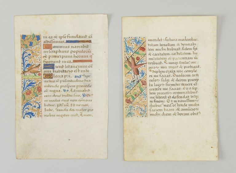 TEXTS FROM OBSECRO TE AND MATINS. TWO ILLUMINATED VELLUM MANUSCRIPT LEAVES, FROM A. BOOK OF HOURS IN LATIN OFFERED INDIVIDUALLY WITH INHABITED PANEL BORDERS.