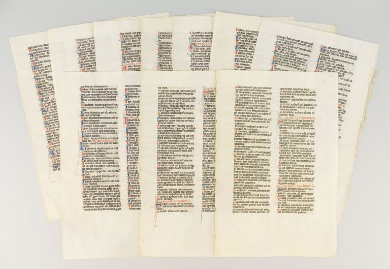 TEXT FROM THE INTERPRETATION OF HEBREW NAMES. OFFERED INDIVIDUALLY TEN VELLUM MANUSCRIPT LEAVES, FROM A. BIBLE IN LATIN WITH KNOWN SCRIBAL PROVENANCE.