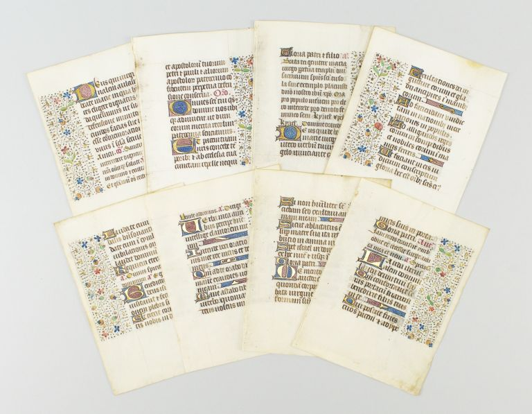 EIGHT ILLUMINATED VELLUM MANUSCRIPT LEAVES, OFFERED INDIVIDUALLY WITH RINCEAU PANEL BORDERS FROM A. BOOK OF HOURS IN LATIN.
